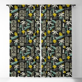 Island Tiki - Black Blackout Curtain