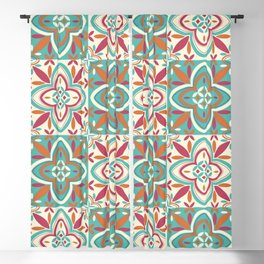 Peranakan Art Nouveau Tiles (Floral Star in Candied Colours) Blackout Curtain