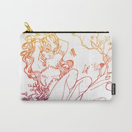 The Masked Fairy - sunset colors version - A masked fairy girl surrounded by butterflies and roses Carry-All Pouch
