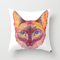 cat coquillette Throw Pillows featuring cat by Ola Liola