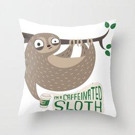 Caffeinated Sloth Throw Pillow