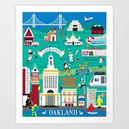 Oakland, California - Collage Illustration by Loose Petals Art Print