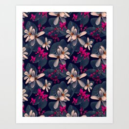 Mixed Tropical Floral in Twilight Art Print