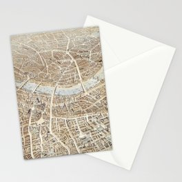 Vintage Pictorial Map of London (1851) Stationery Cards
