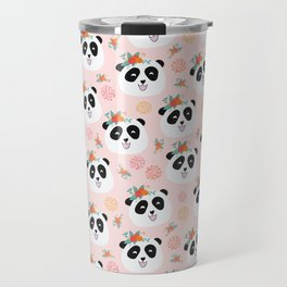 Panda bear with flowers seamless pattern Travel Mug