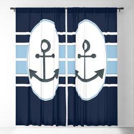 Nautical Graphic Art Design Featuring an Anchor Blackout Curtain