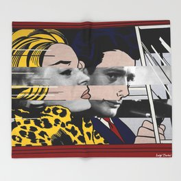 "Roy Lichtenstein's ""In the car"" & Marcello Mastroianni with Anita Ekberg Throw Blanket"