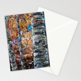 Birch Trees with Palette Knife by OLena Art for @society6 Stationery Cards