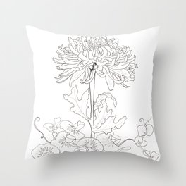 Flora of Lighthearted Living - Color or Paint Your Own! Throw Pillow