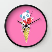 ice cream Wall Clocks featuring Ice Cream by Freeminds
