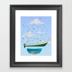 Boat and Birds Framed Art Print