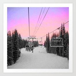 Ski Lift Sunset Shot on iPhone 4 Art Print