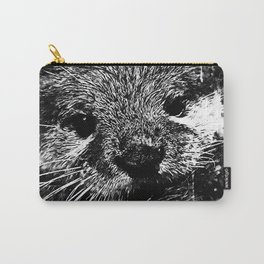 furry fish otter splatter watercolor black white Carry-All Pouch