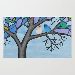 indigo buntings in the stained glass tree Rug