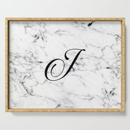 Letter J on Marble texture Initial personalized monogram Serving Tray