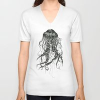 jellyfish V-neck T-shirts featuring Jellyfish by Aubree Eisenwinter