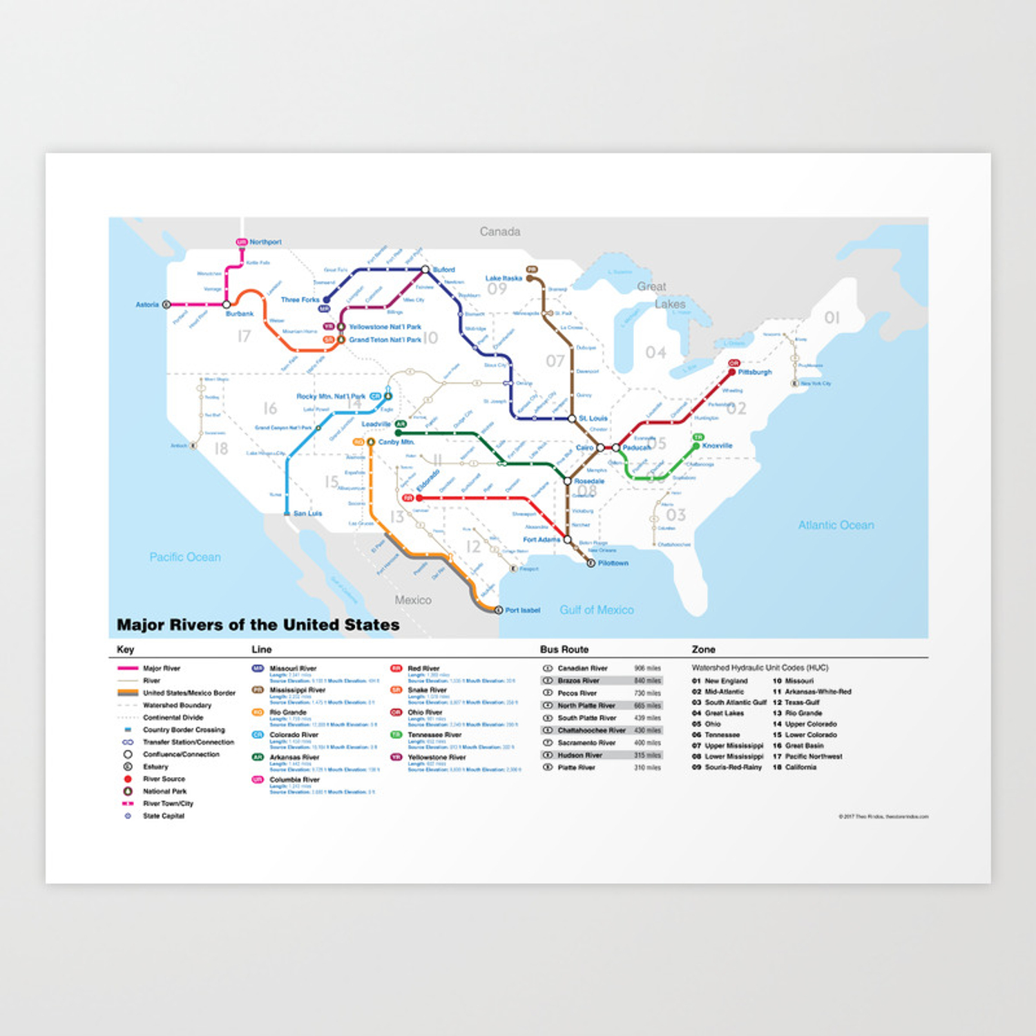 Major Rivers of the United States Art Print