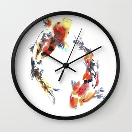 Koi fishes. Japanese style. Watercolor design Wall Clock