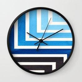 Prussian Blue Circle Round Framed Mid Century Modern Aztec Geometric Pattern Maze Wall Clock