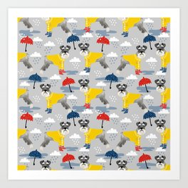 Schnauzer spring raincoat cute pattern for dog lover with schnauzers Art Print
