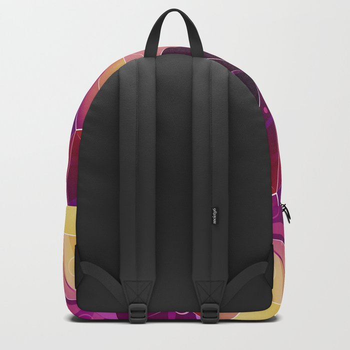 Polygonal pattern.Black, red, yellow, orange background. Backpack