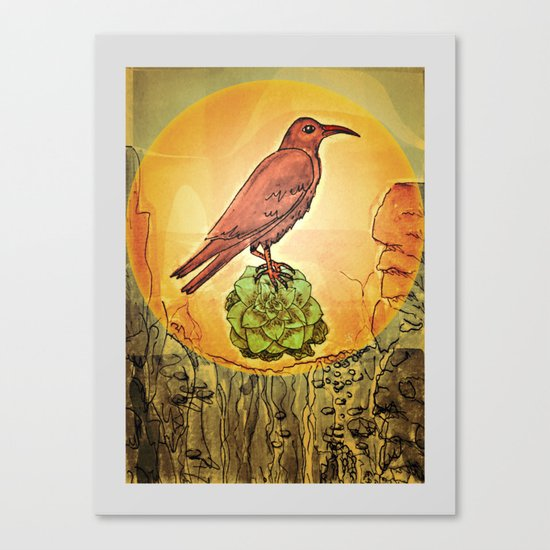 NATURE / BIRD and SUCCULENT Canvas Print