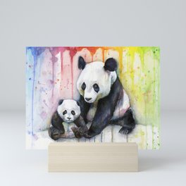 Rainbow Pandas Watercolor Mom and Baby Panda Nursery Art Mini Art Print