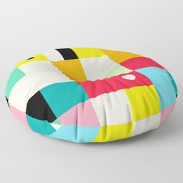Geometric Bauhaus Pattern | Retro Arcade Video Game | Abstract Shapes Floor Pillow