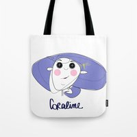 coraline Tote Bags featuring Le Faccine - Coraline by Le Faccine