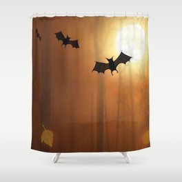 Halloween Bats In The Woods Silhouette Ultra HD Shower Curtain