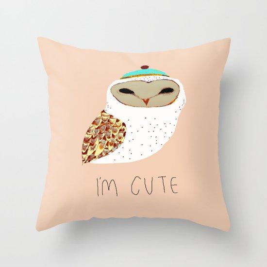 i'm cute owl illustration  Throw Pillow
