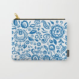 Beautiful folk art floral ornament with blue flowers on white background Carry-All Pouch