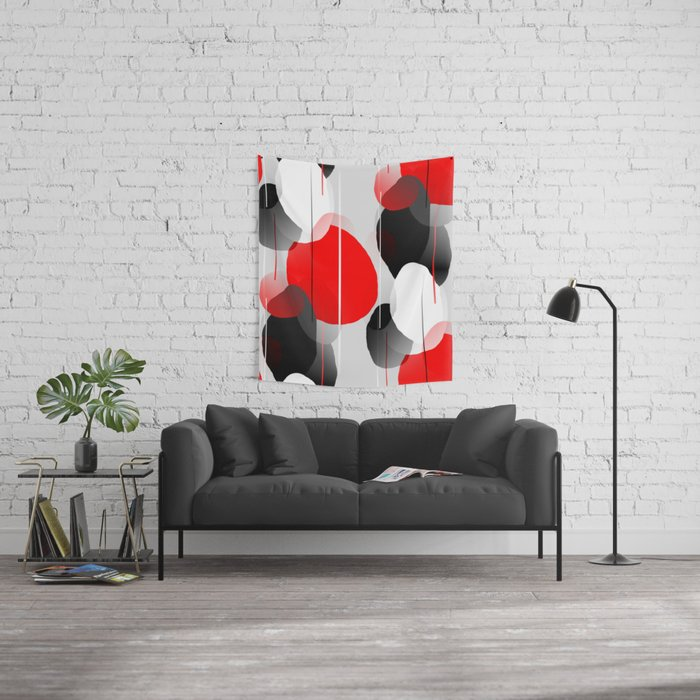 Modern Anxiety Abstract - Red, Black, Gray Wall Tapestry