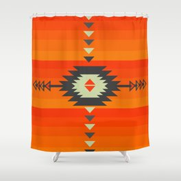 Southwestern In Orange And Red Shower Curtain