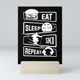 Eat Sleep Ski Repeat - Skiing Winter Holidays Snow Mini Art Print