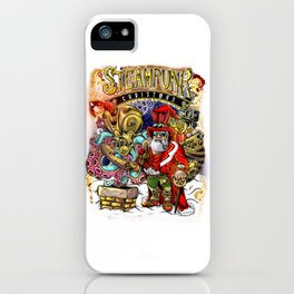 Steampunk Santa Claus & Octopus Reindeer Christmas iPhone Case