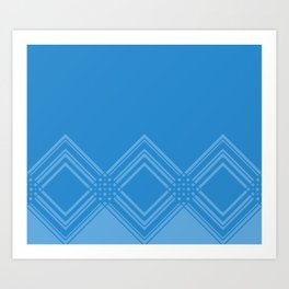 Abstract geometric pattern - blue. Art Print