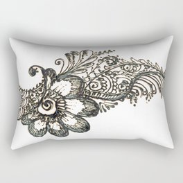 17. Henna Flower Corner  Rectangular Pillow