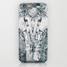 Elephant, India, Mandala, Teal, Green iPhone Case