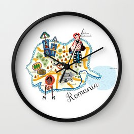 Romania Map Wall Clock