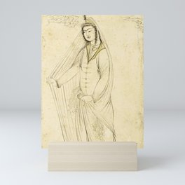 A drawing of a maiden wrapped in a shawl, Persia, Safavid, 17th century Mini Art Print