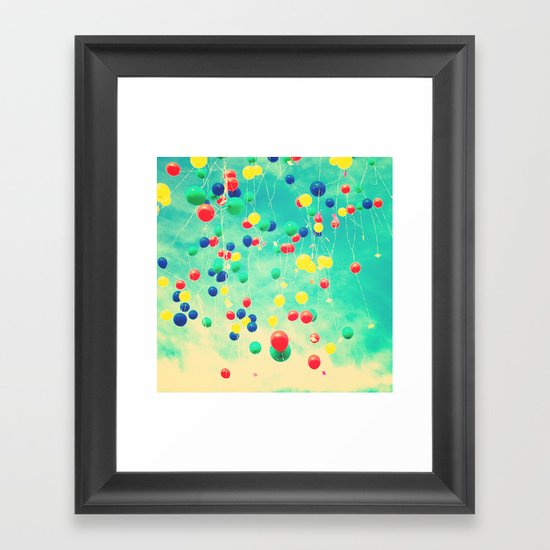 Let your wishes fly (Colour balloons in vintage - retro turquoise sky) Framed Art Print