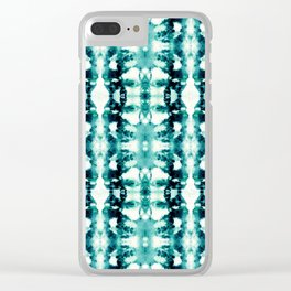 Tie-Dye Teals Clear iPhone Case