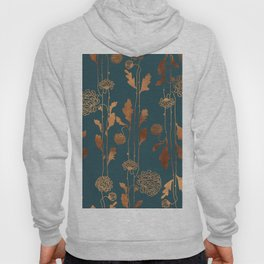 Art Deco Copper Flowers Hoody