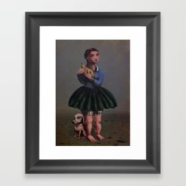 Girl with Giant Birne Framed Art Print