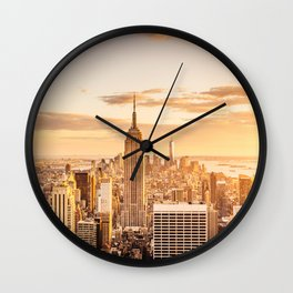 New York City- Empire State Building at sunset Wall Clock