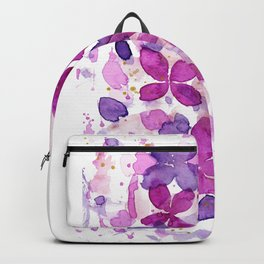 Watercolor Abstract Fuchsia Flowers Backpack
