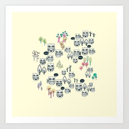 Forest Of Owls Art Print