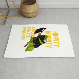 Hippity Hoppity Abolish Private Property Frog Meme design Rug