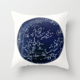 French July Star Maps in Deep Navy & Black, Astronomy, Constellation, Celestial Throw Pillow